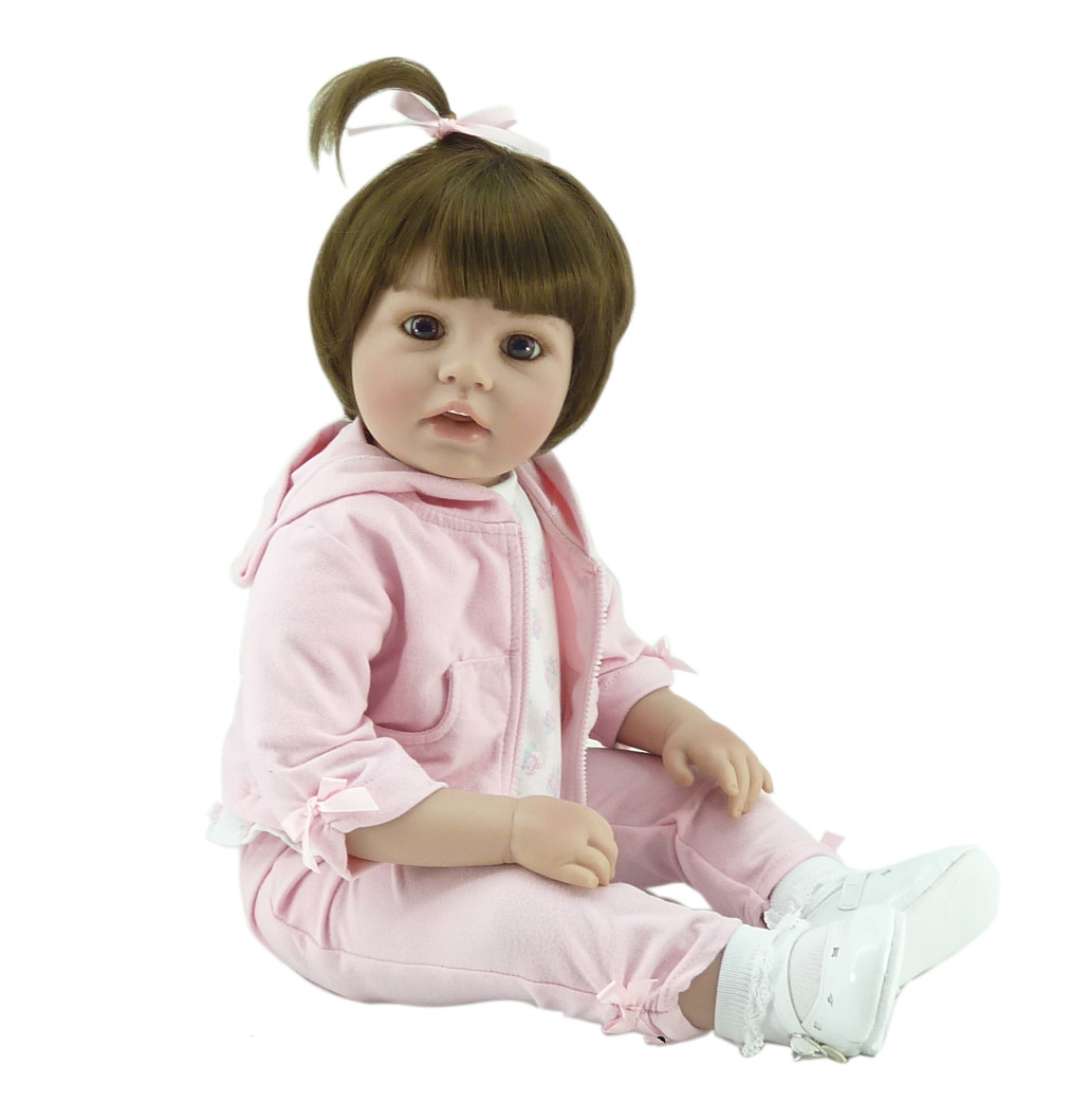 20inch Lifelike Realistic Cute Soft Vinyl Silicone Reborn Baby Girl Doll Newborn Baby Alive Doll Gift Classic Kid Hobbies Toy simulation baby girl dolls with short yellow hair newborn realistic alive silicone 60cm height gift for kid house education doll