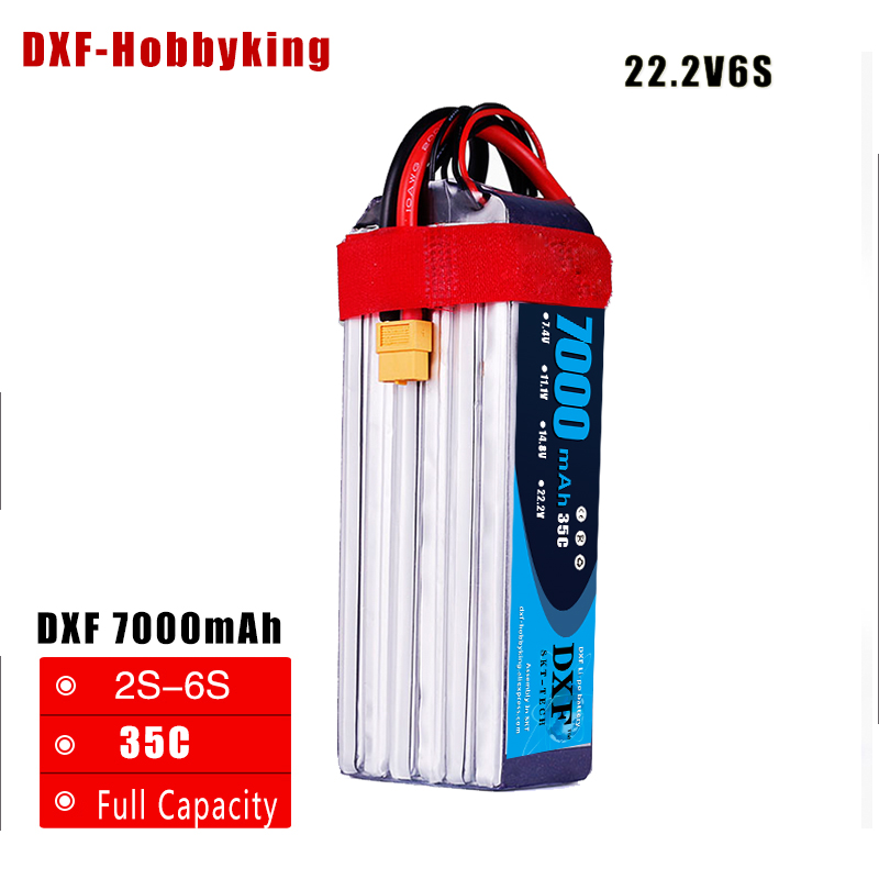 DXF Good Quality 22.2V 7000mAh 6S Lipo Battery 35C Max60C for RC Airplane Helicopter Quadrotor AKKU car truck boat RC drone lynyoung battery lipo 4s 3000mah 14 8v 35c for rc bike drone boat plane car truck helicopter