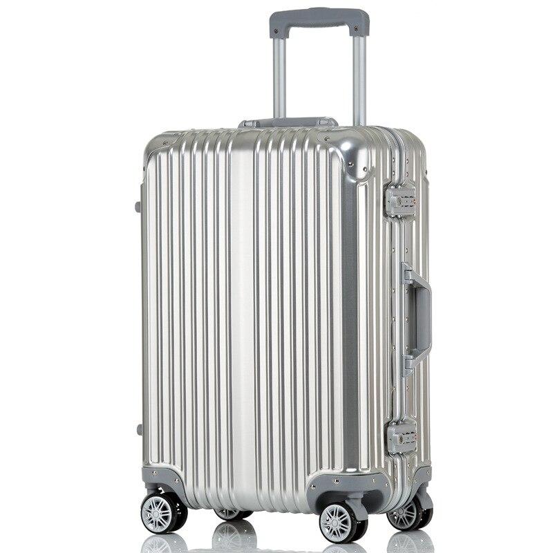 20' 24'' inch Aluminum Alloy Suitcase TSA Lock Trolley Luggage, Fashion Metal Luggage Travel Case Rolling Suitcase With Wheel 20 24 26 inch 2pcs set fresh oxford travel trolley luggage scratch resistant rolling luggage bags suitcase with tsa lock
