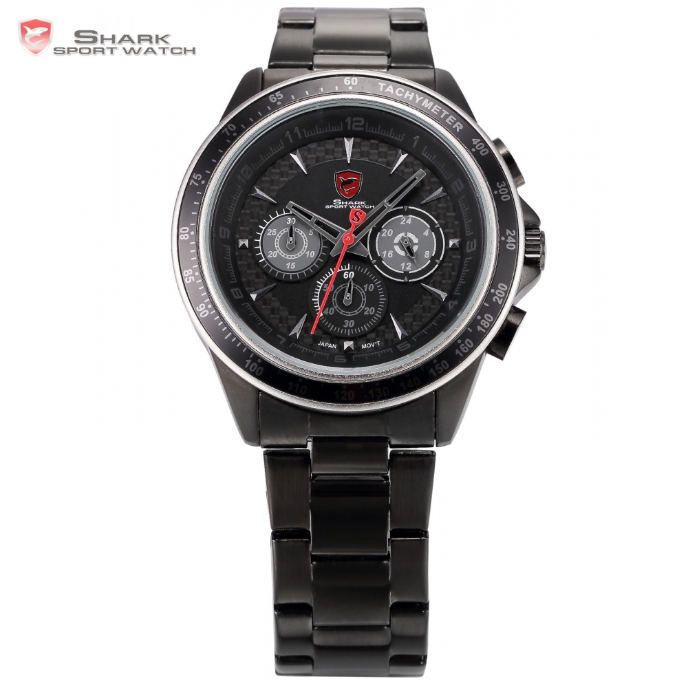 Bramble Shark Sport Watch Stainless Steel Case Black Red Relogio Chronograph Analog Quartz Army Mens Watches Wristwatches /SH244 zebra shark sport watch two time zone relogio masculino white red analog black stainless steel mens quartz wrist watches sh297