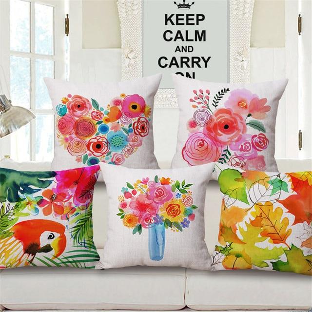 Tropical Parrot Fl Decorative Pillows Bed Chair Cushion Cover Vintage Home Decor Sofa Throw Pillow Case