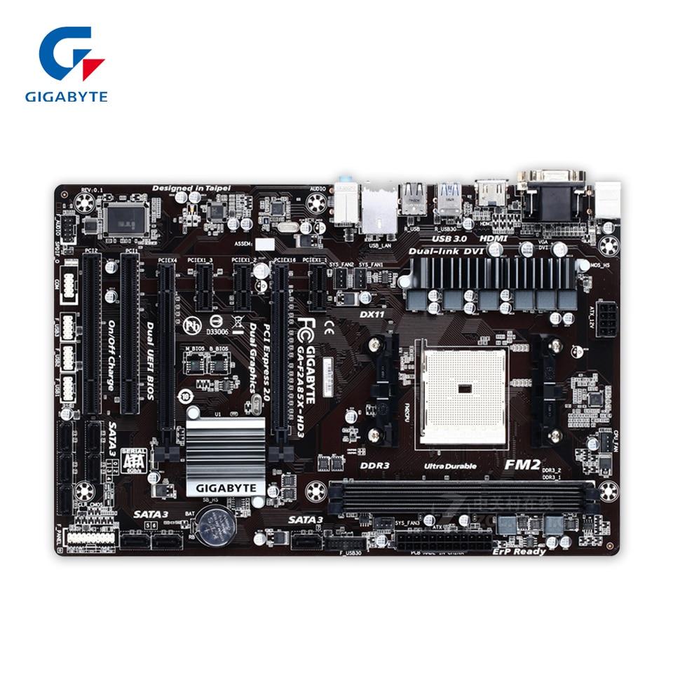 Gigabyte GA-F2A85X-HD3 Original Used Desktop Motherboard F2A85X-HD3 A85X Socket FM2 DDR3 SATA3 USB3.0 ATX gigabyte ga 8i945plg original used desktop motherboard 945 lga 775 ddr2 atx