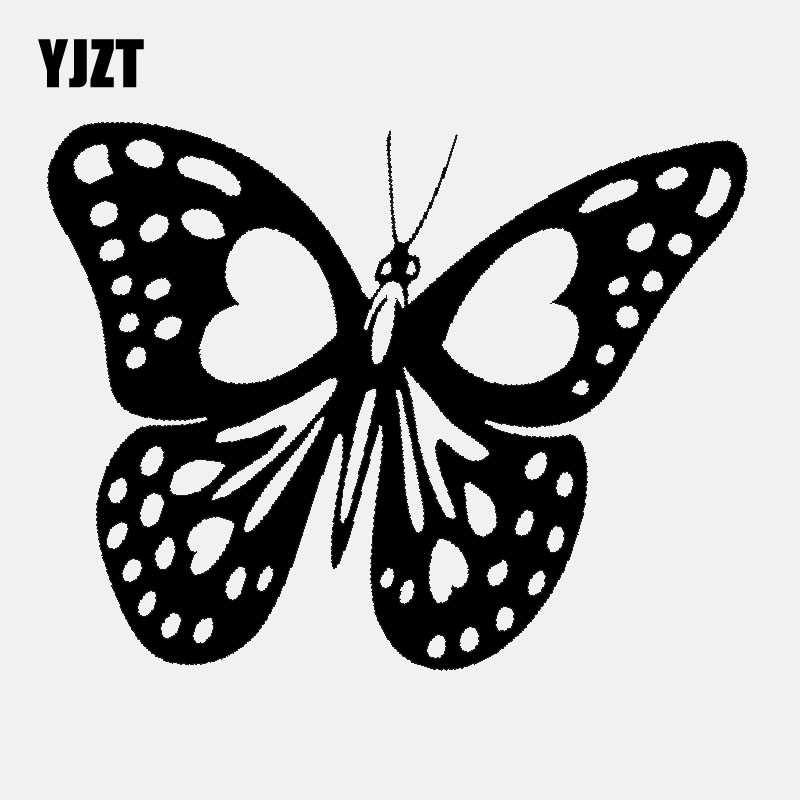 YJZT 13.9CM*10.9CM Vinyl Decal Love Butterfly Heart Car Sticke Decor Black/Silver C24-0209