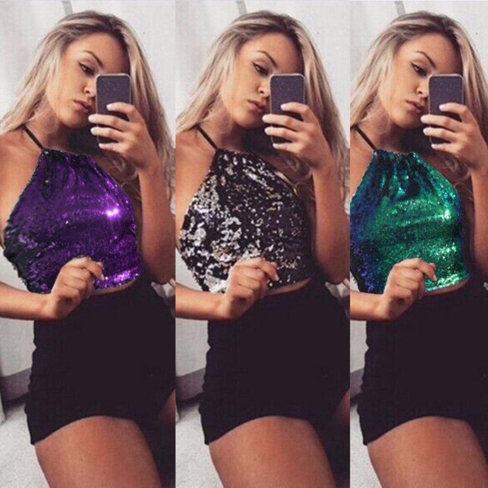 New Fashion Women Backless Tank Sequin Tops Sexy Bustier Bra Vest Crop Top Bralette Blouse Sling Vest Mar20