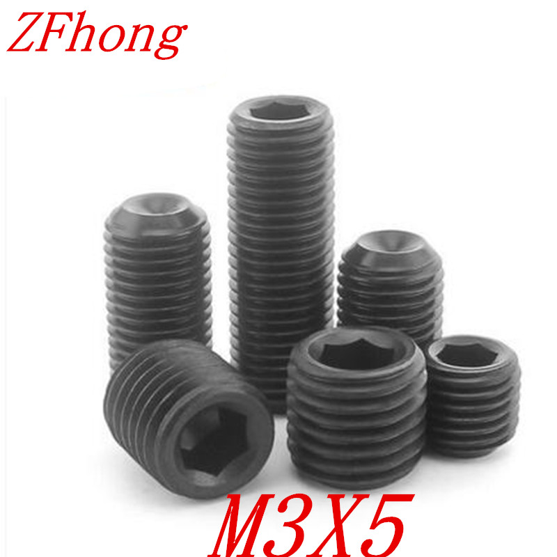 3mm M3 Hex Socket Set Screw Cup Point Grub Screw Black 12.9 Alloy Steel DIN916
