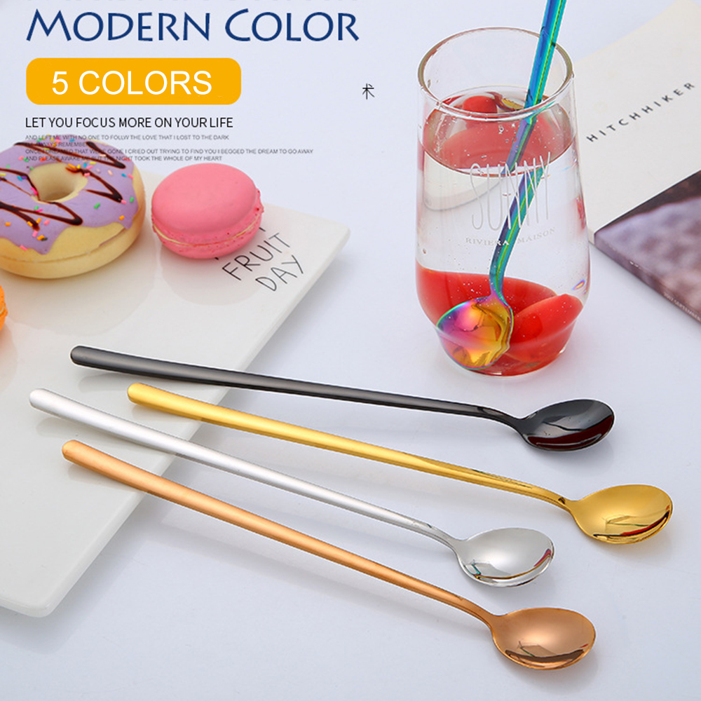 Stainless Steel Coffee Spoon With Long Handle Colorful Coffee Dessert  Scoops