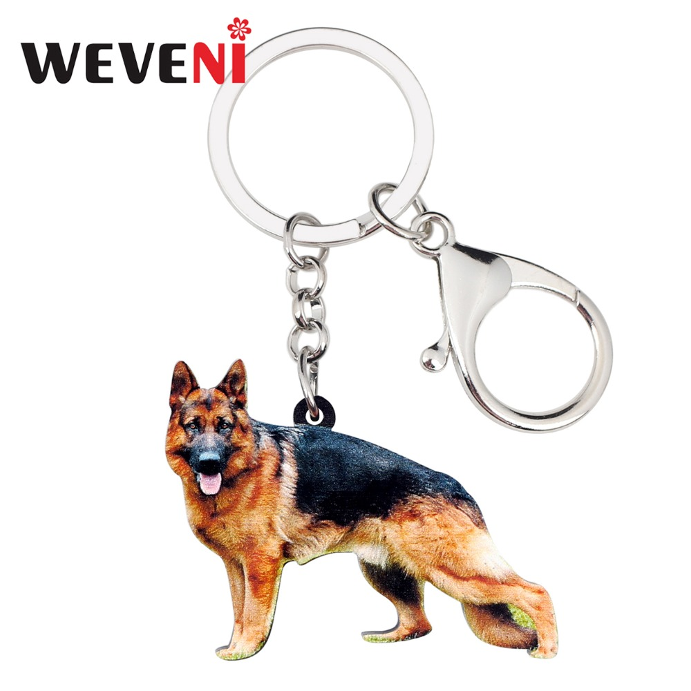 WEVENI Acrylic German Shepherd Dog Key Chain Keychain Ring Fashion Animal Jewelry For Women Girls Pet Lovers Car Bag Charms Gift
