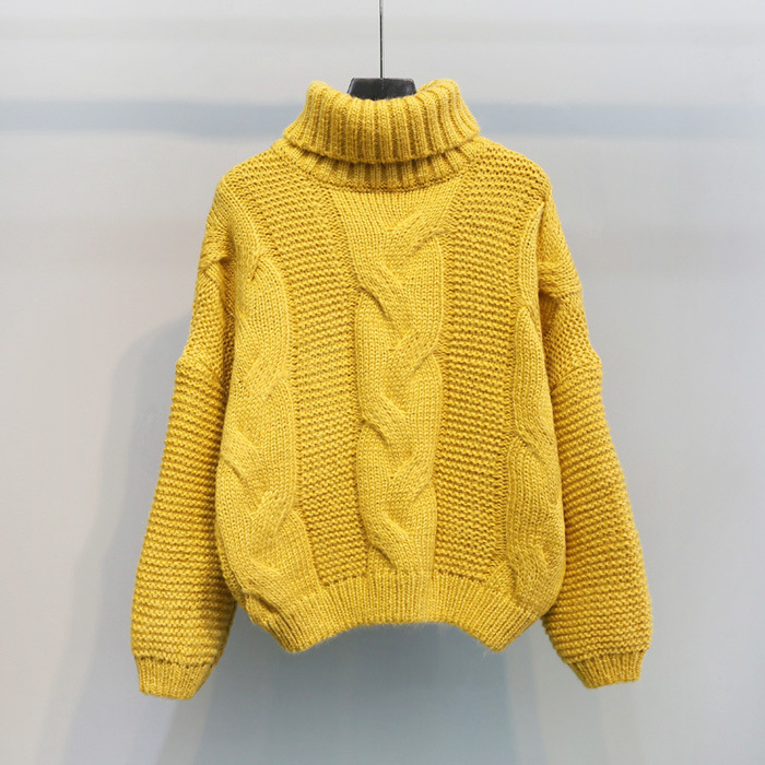 Autumn Winter Short Sweater Women Knitted Turtleneck Pullovers Casual Soft Jumper Fashion Long Sleeve Pull Femme 8