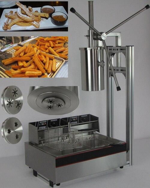 5L Capactity kommerziellen elektrische churro maker mit 12L Friteuse, der drei stücke in einem zeit