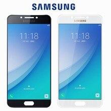 Yeni orijinal test süper AMOLED LCD Samsung Galaxy C7 Pro C7010 LCD ekran dokunmatik ekran Digitizer meclisi değiştirme