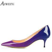 AIWEIYi Women s Patent Leather Med Heels New High Quality Shoes Classic High  Heels Pumps Shoes Ladies 04898a6c3250