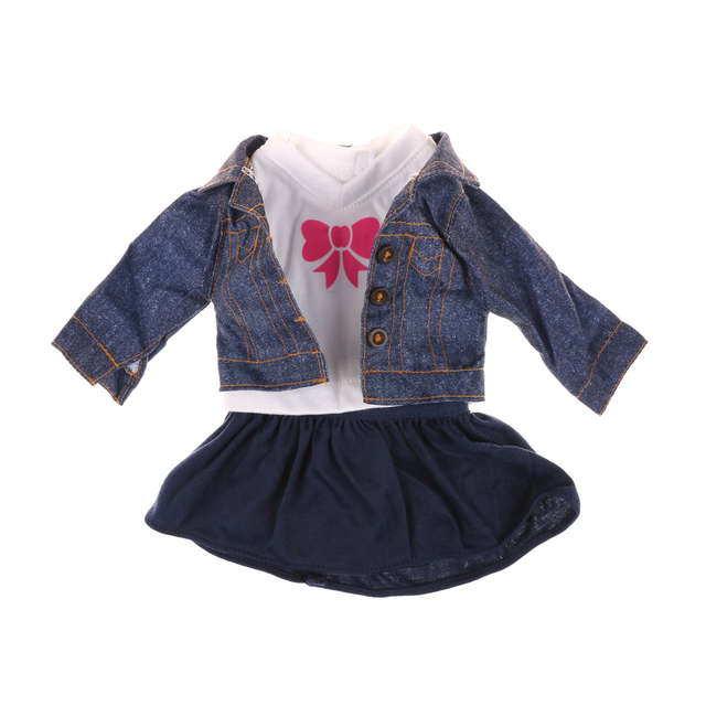 e72403ea797 1Set Fashion cute Doll Fancy Jeans Shirt Dress Suit for 18