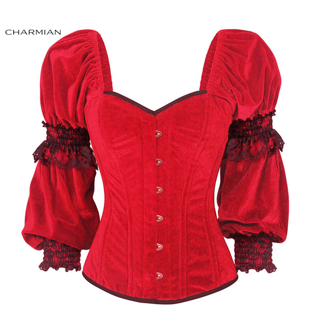 5b45a54fb6 Charmian Women s Gothic Retro Corset Plus Size Red Velvet Lace Christmas  Corsets and Bustiers Long Sleeves Overbust Corset Top