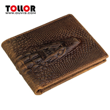 Fashion Wallet 100% Genuine Leather Wallets Cowhide Leather Men's Purse Card Holder Vintage Alligator Pattern Men Clutch Purse