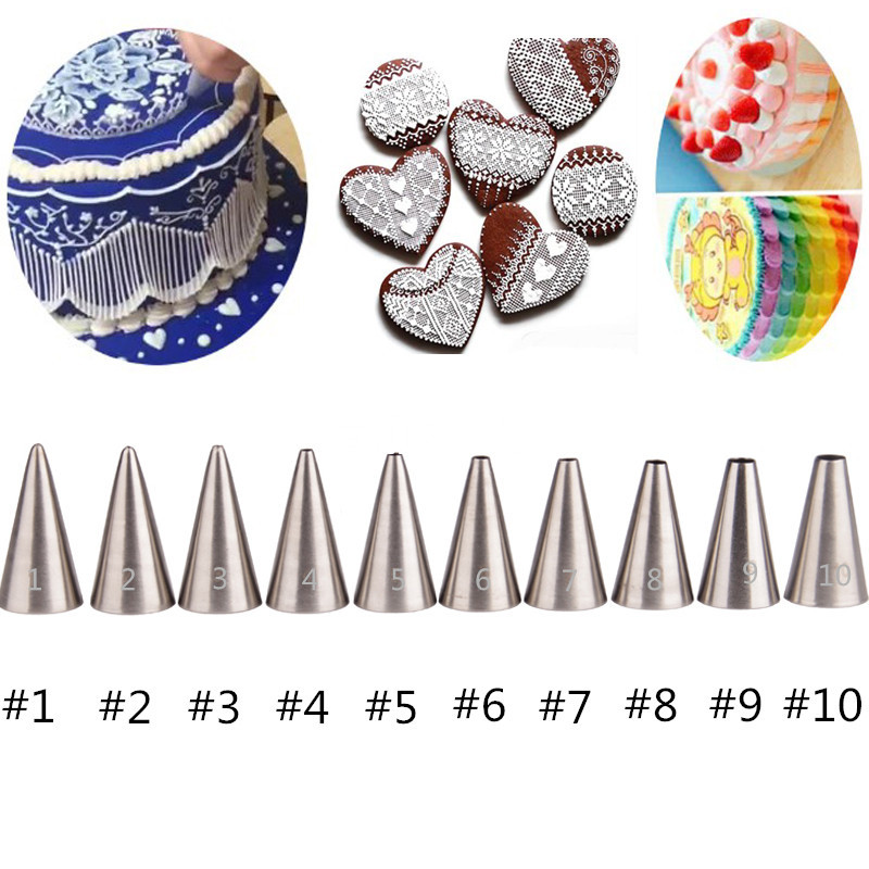 10PCS Icing nozzles Бұру Кремі Decorating Tips Set Pastry Stainless Steel Cake Tools Bakeware