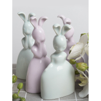 Modern Ceramic Rabbit Figurines Desktop Decorative Crafts Small Animal Ornaments Creative lovable Valentine's Day Birthday Gift