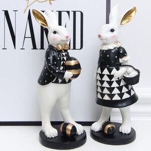 Image 3 - אמריקאי משפט כפרי אור יוקרה ארנב פסלוני מלאכת שחור זהב מתגעגע ארנב נורדי סגנון עיצוב הבית אבזרים