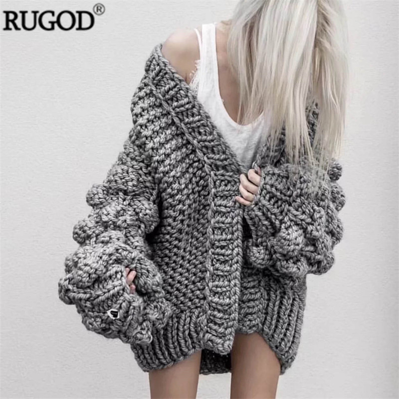 RUGOD/Новинка 2019 года; зимние пальто для женщин; теплый вязаный кардиган с рукавами фонариками; Модный разноцветный вязаный свитер; Casaco Femme