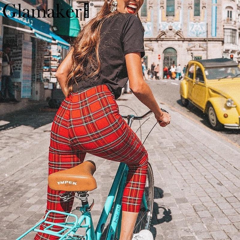 Glamaker Plaid skinny   pants   &   capris   Front zipper fitness trousers female bottom Streetwear 2019 new sexy high waist woman   pants