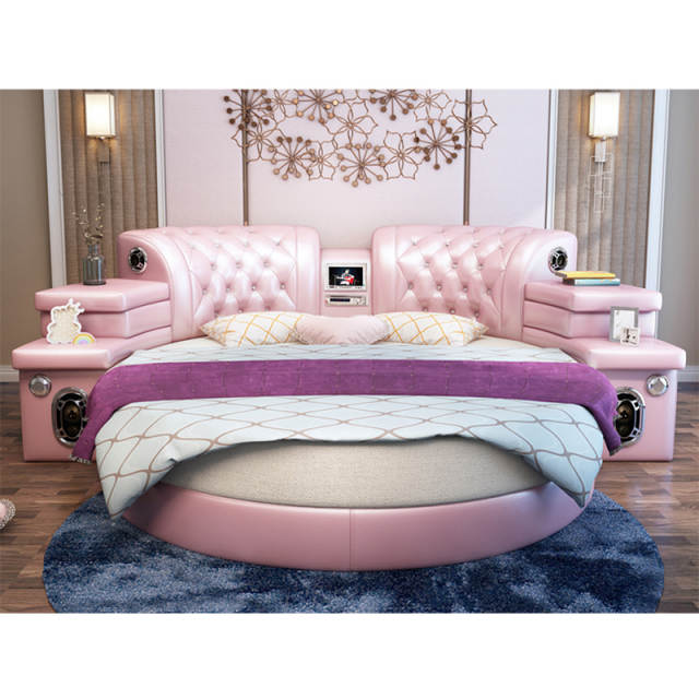 Girls Bedroom Furniture Pink Big Round Leather Bed Cheap Round Beds