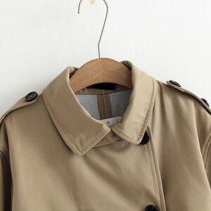 Image 3 - Vee topo feminino casual cor sólida duplo breasted outwear moda faixas casaco de escritório chique epaulet design longo trincheira 902229