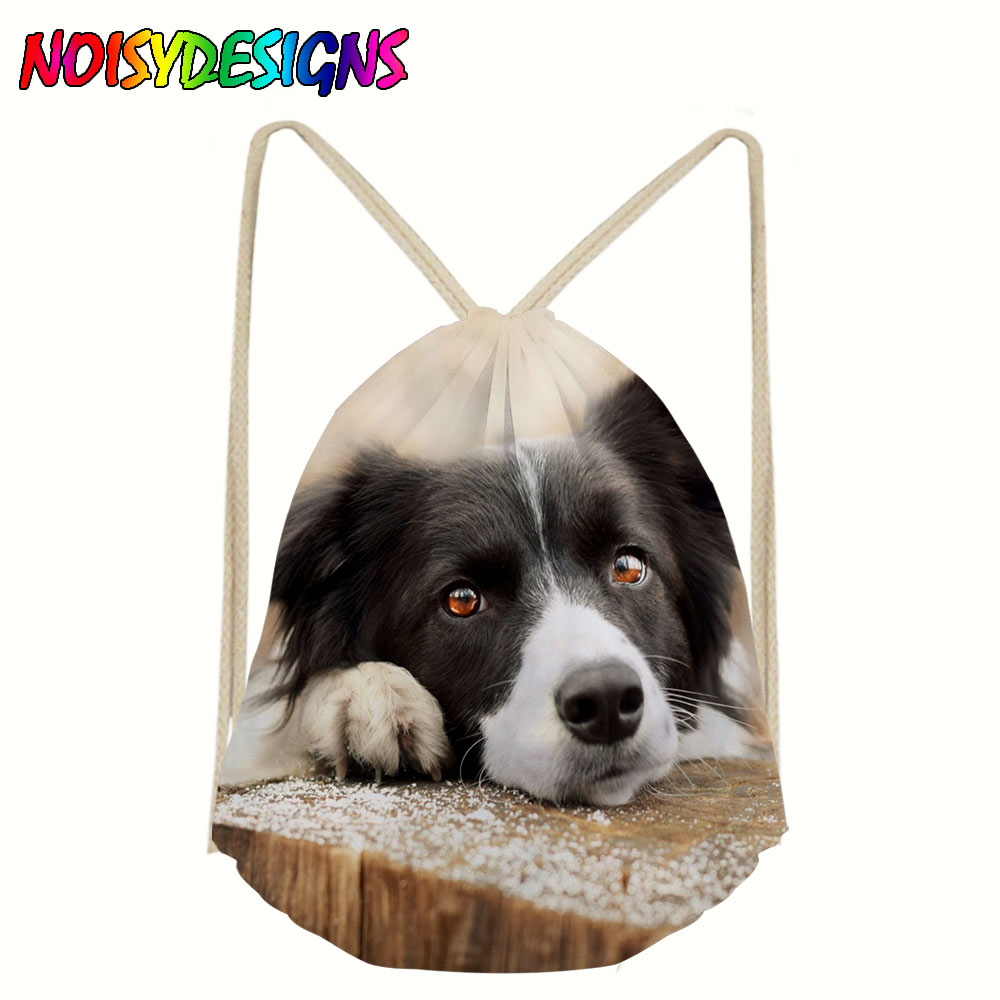 Border Collie Drawstring Backpack for Men Tote String Shoulder Bag Teenager Boys Storage Package Bags Dog Pattern Gym Rucksack in Drawstring Bags from Luggage Bags