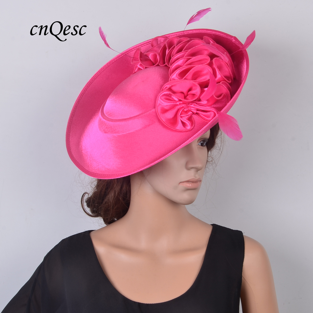 NEW hot pink Large saucer fascinator sinamay dress hats for wedding Women s hat Races Church
