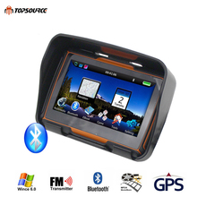 TOPSOURCE 4.3 Inch Car Motor Navigator GPS 256M RAM 8GB Flash Motorcycle Waterproof gps Navigation with FM Bluetooth Maps