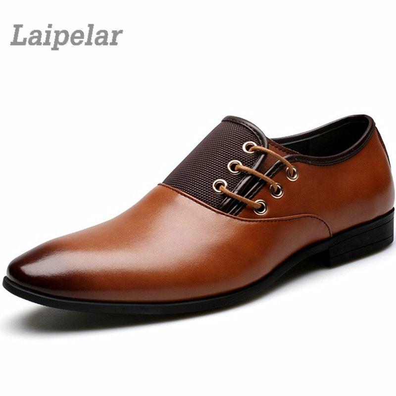 Designer Mens Leather Casual Shoes Business Gentleman Flats Lace Up Oxford Big Size 38-47 Zapatos Hombre Laipelar