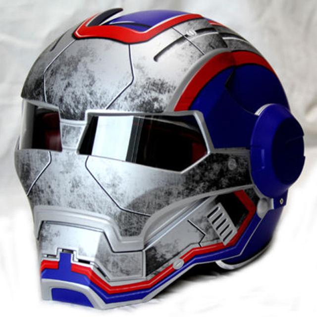 Hombres tácticos mujeres ktm HECHO Iron Man Patriot personalidad poco convencional a cara descubierta medio casco de motocross motocicleta especial-Azul-S, M-XXL