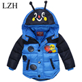 LZH Boys Jacket 2016 Winter Down Jacket For Girls Jacket Bees Model Cartoon Hooded Jacket Kids Outerwear Coat Children's Clothes