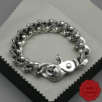 925 sterling silver bracelet personality fashion classic punk style street dance Skeleton around shape gift 2018 new hot sale