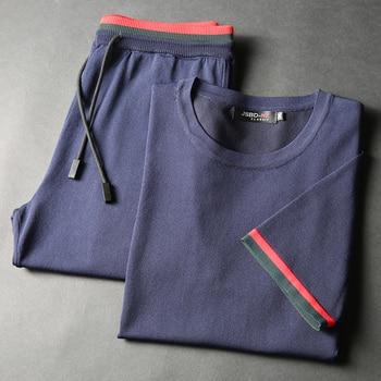 Jsbd2019 new summer men's jersey set (top + pants)Fashionable round neck slim casual men's sweatshirt elastic waist pants sweet casual round neck bikini set in khaki