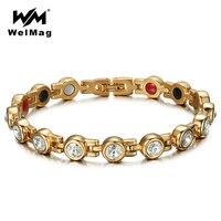 WelMag Magnetic Crystal Bracelets Bangles Healthy Bio Energy Hologram Germanium Bracelets Rhinestone Jewelry Women Accessories