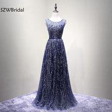 Nova Chegada Azul Marinho Lantejoulas Lace vestidos de Noite 2018 Vestidos de festa O Pescoço vestidos de Festa Formal vestido de noite