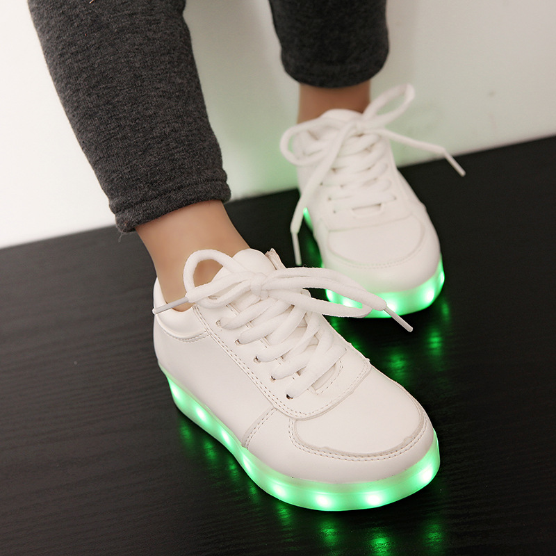 New Children Usb Charging Shoes with Led Light Kids Luminous Lace Fashion Sneakers Boys Girls Night Party Shoes Size 26-35 children usb charger luminous shoes lace boys girls led light sneakers fashion kids night show casual shoes brand
