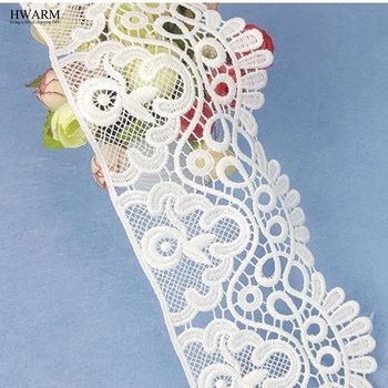 5yard 10cm white african lace fabric trim ribbon curtain DIY High-end fashionable bilateral wedding decoration New Unilateral 1