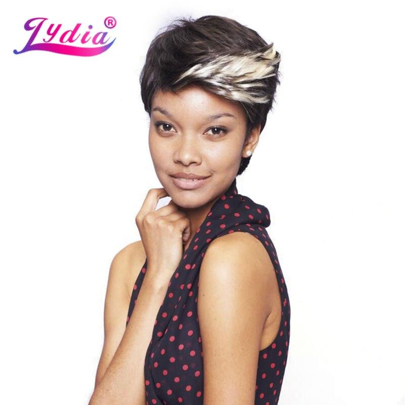 Lydia para mujeres pelucas sintéticas cortas color de Ombre FT1B / 613 100% Kanekalon peluca afroamericana naturaleza peluca