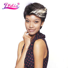 Lydia For Women Short Synthetic Wigs Ombre Color FT1B/613 100% Kanekalon Wig African American Nature Wig