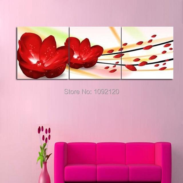 Charmant 3 Pièce Abstraite Toile Art Rouge énorme Fleur Chambre Peinture Mur Panneau  à La Main Photo