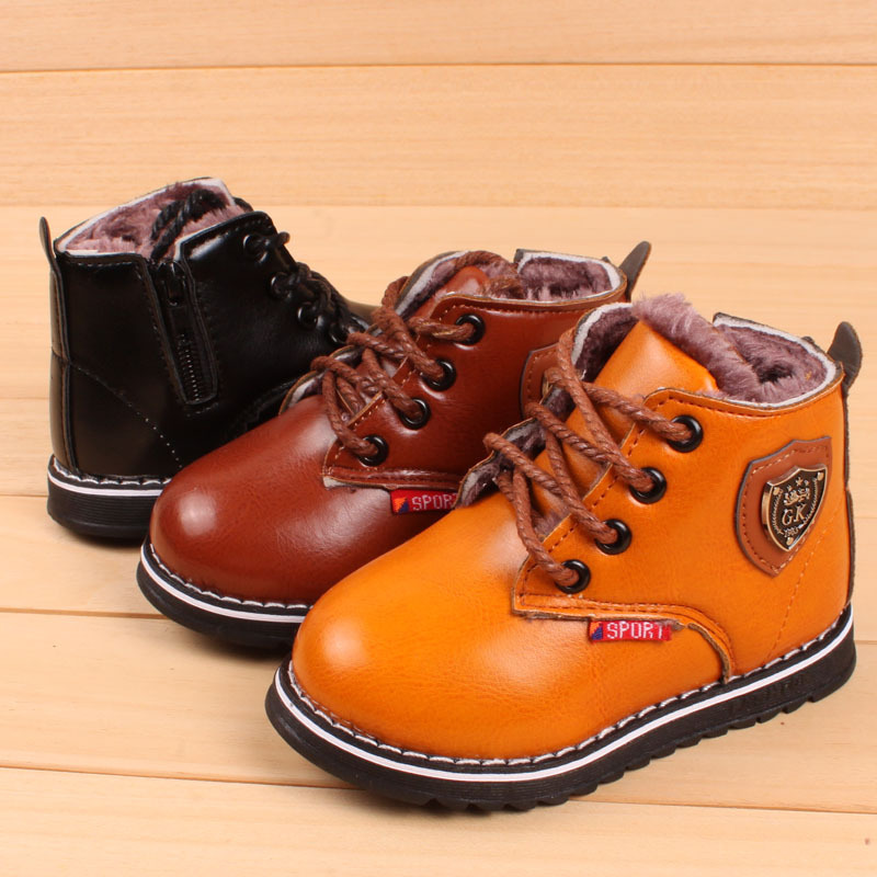 726365d7f1d49 Winter Kids Leather Boots PLUSH INNER Thermal Boots Girls Boys Shoes  WATERPROOF