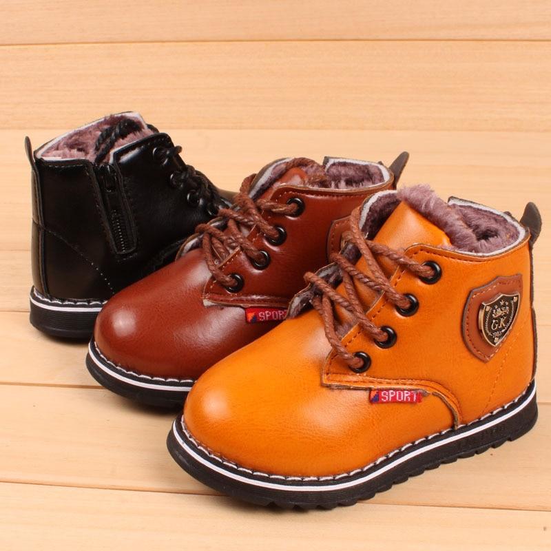 Winter Kinder Lederstiefel PLUSH INNER Thermo-Stiefel Mädchen Jungen Schuhe WATERPROOF