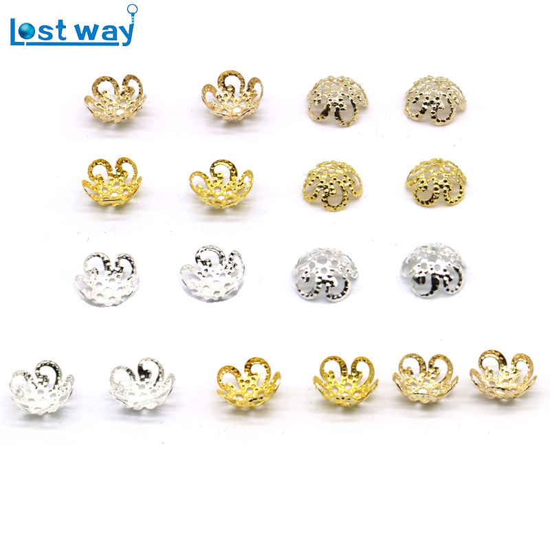 8mm 500pcs/lot Zinc Alloy Bead Cups Silver Gold Plated Flower petal End Spacer Beads Caps Charms For Diy Jewelry Making free shipping 50pcs lot european zinc alloy antique silver crimp end bead for bracelet making ec6