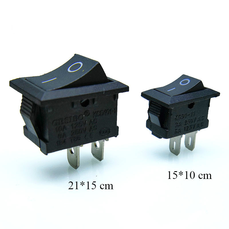 10 Pcs/lot KCD1 2 Pin 250V 3A Boat Switch 21*15 15*10 Snap-in SPST ON OFF Rocker Position Switch