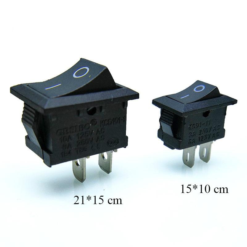 10 Pcs/lot KCD1 2 Pin 250V 3A Boat Switch 21*15 15*10 Snap-in SPST ON OFF Rocker Position Switch