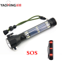 5000LM CREE XM-L T6 Multifunction Emergency Torch Lights Led Solar Flashlight With Safety Hammer Compass Magnet Power Bank SOS