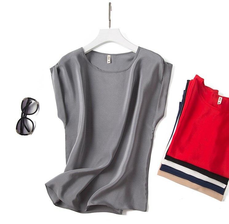 Good Quality 100% Pure Silk Round Neck Top Blouse Shirt Short Sleeve L-3XL JN001