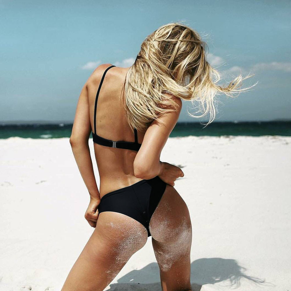 MUQGEW 2019 Mid Waist New Summer Women Two Pieces Bikini Set Solid High Quality Padded Push Up Swimwear Brazilian Bikini #1210