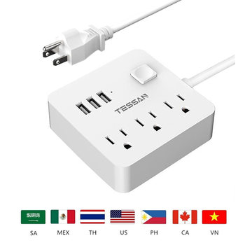 Tessan Travel White USA Power Strip with 3 USB and 3 Outlet Desktop Charging Station Pop Socket Mini USB Socket Switch Control