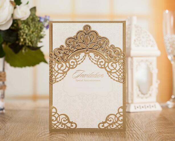 50pcs luxurious elegant golden wedding invitations card laser cut